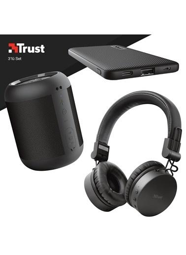 Trust Trust Tones Siyah Bluetooth Kulak Üstü Kulaklık ve Siyah Powerbankli 3'lü Hediye Seti Renkli